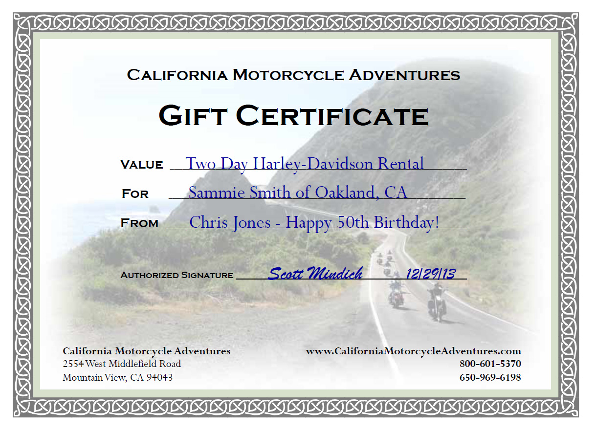 Motorcycle Rental Gift Certificates Bmw Honda Harley